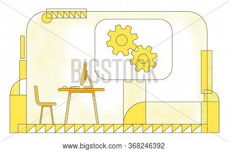 Directors Office Flat Silhouette Vector Illustration. Executive Manager, Company Ceo Workplace Conto