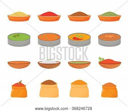 Indian Meals And Flat Color Vector Objects Set. Traditional Food In Metal Thali, Flavourings In Wood