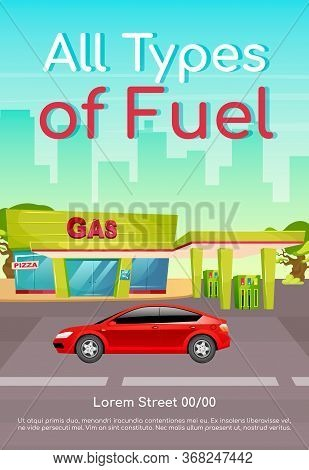 All Type Of Fuel Poster Flat Vector Template. Petrol Refill For Cars. Diesel And Petroleum For Vehic