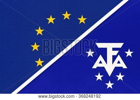 European Union Or Eu And Scattered Islands In The Indian Ocean Taaf National Flag From Textile. Symb