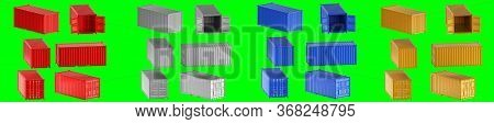 A High Quality Image Of 20ft Shipping Containers On A White Background With Clipping Path. Set Twent