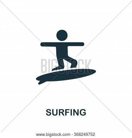 Surfing Icon From Australia Collection. Simple Line Surfing Icon For Templates, Web Design And Infog