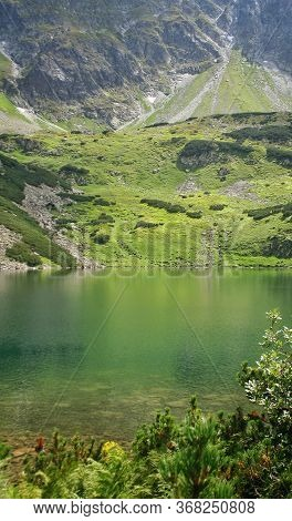 Wielki Staw In Poland. Valley Of Five Ponds In The Tatra Mountains Europe Poland.