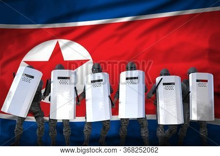 North Korea Police Officers Protecting Order Against Revolt - Protest Fighting Concept, Military 3d