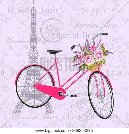 Pink Bicycle With A Basket Full Of Flowers. Vintage Postcard Background With Eiffel Tower. Vector Il