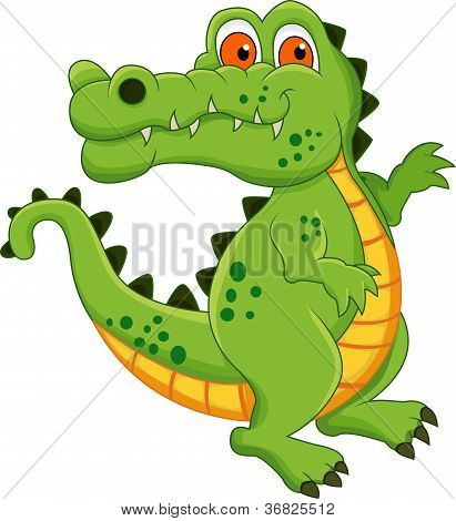 cute green crocodile cartoon