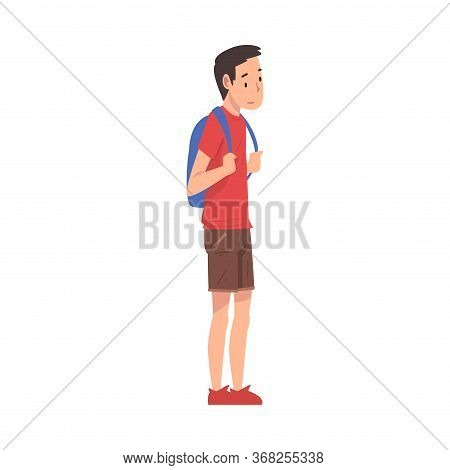 Teen Boy Standing With Backpack, Teenager Spending Time In Expectation At Bus Stop Cartoon Vector Il