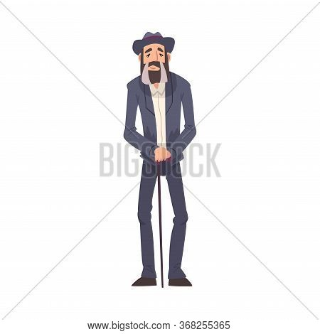 Mature Man Wearing Suit And Hat Standing With Walking Cane, Man Spending Time In Expectation Cartoon