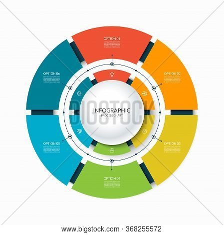 Infographic Circular Chart Divided Into 6 Parts. Step-by Step Cycle Diagram With Six Options.
