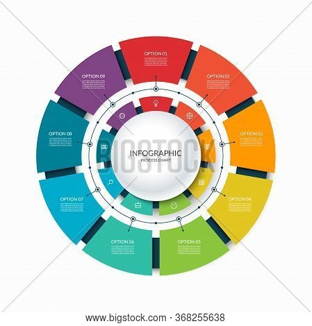 Infographic Circular Chart Divided Into 9 Parts. Step-by Step Cycle Diagram With Nine Options.