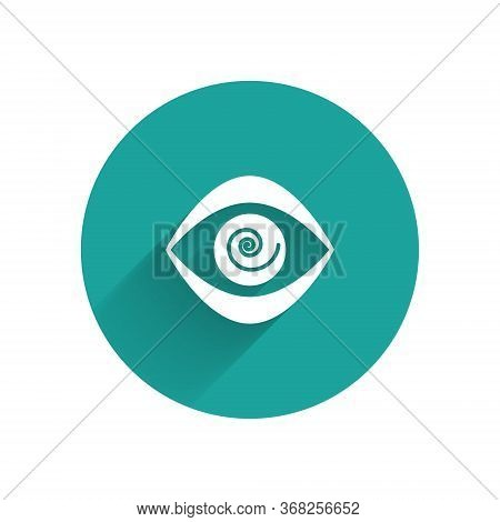 White Hypnosis Icon Isolated With Long Shadow. Human Eye With Spiral Hypnotic Iris. Green Circle But