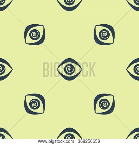 Blue Hypnosis Icon Isolated Seamless Pattern On Yellow Background. Human Eye With Spiral Hypnotic Ir