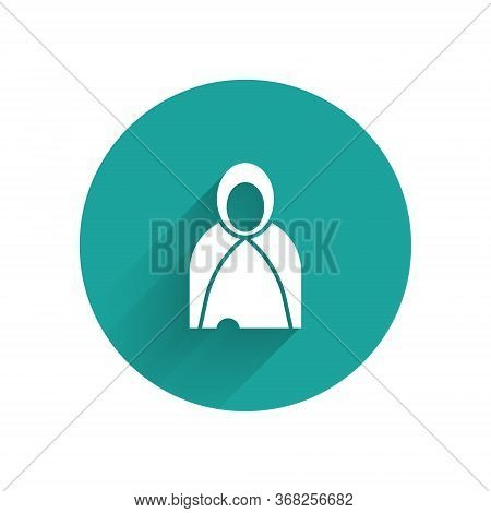 White Mantle, Cloak, Cape Icon Isolated With Long Shadow. Magic Cloak Of Mage, Wizard And Witch For