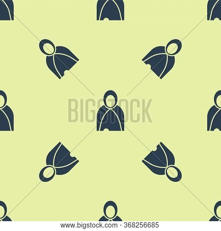 Blue Mantle, Cloak, Cape Icon Isolated Seamless Pattern On Yellow Background. Magic Cloak Of Mage, W