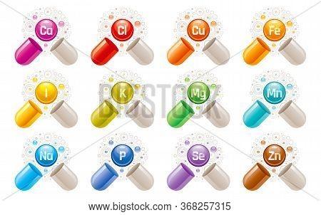 Mineral Supplement Set - Iron, Calcium, Magnesium, Zinc, Potassium, Iodine, Phosphorus, Copper, Sodi