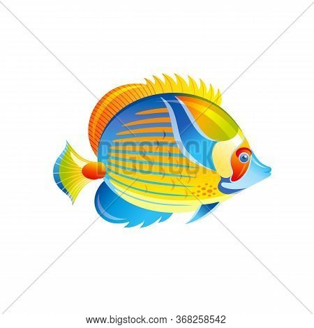 Tropical Fish, Vector Angel Butterfly Fish. Exotic Coral Reef Animal, Aquarium Or Sea Blue Angelfish