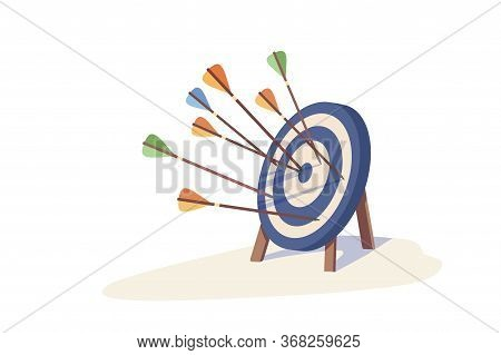 Colorful Arrow Hitting Target Mark Vector Illustration. Multiple Arrows Exactly Into Goal Of Dartboa