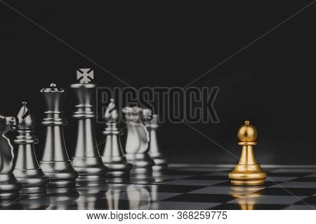 Employee. Gold Pawn Chess With Silver Chess Pawns Pieces On Chess Board Game Competition On Dark Bac