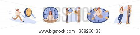 Concept Of Interaction People And Time Set Vector Flat Illustration. Collection Of Man And Woman Bus