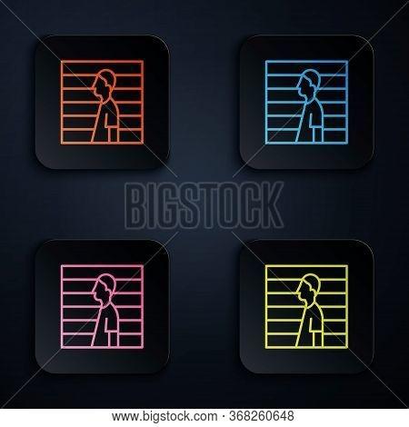 Color Neon Line Suspect Criminal Icon Isolated On Black Background. The Criminal In Prison, Suspecte
