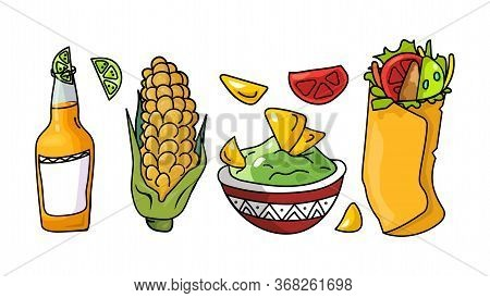 Set Mexican Traditional Food And Beer. Nachos Chips, Guacamole In Plate, Bottle With Lime, Corn Cob,