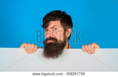 Copy Space. Advertising. Sale. Discount. Bearded Man With Blank Board. Space For Text. Serious Man H
