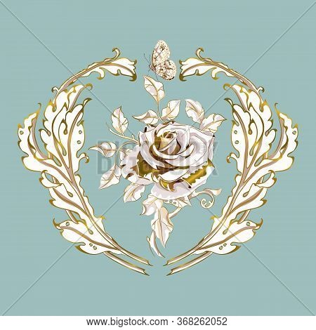Antique Ornament In Style Baroque Of Acanthus Leaves And Gorgeous Rose.