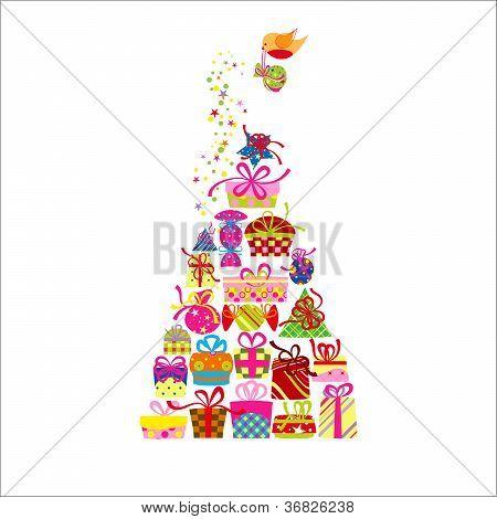Christmas Greeting Card Colorful Present