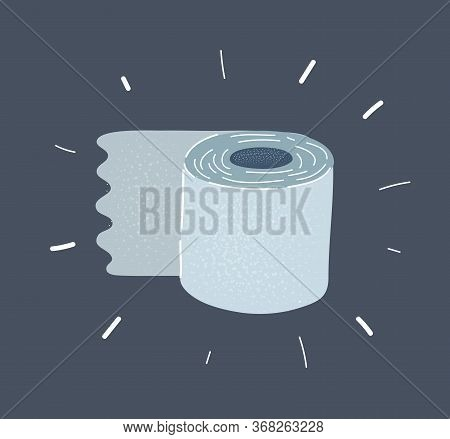Vector Crop Flat Illustration Of Toilet Tissue Roll.