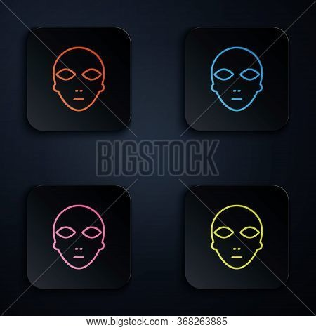 Color Neon Line Alien Icon Isolated On Black Background. Extraterrestrial Alien Face Or Head Symbol.
