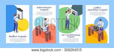 Isometric Colorful Banners Set With Workers Repairing Home Appliances Boiler Microwave Conditioner C