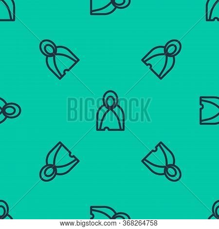 Blue Line Mantle, Cloak, Cape Icon Isolated Seamless Pattern On Green Background. Magic Cloak Of Mag