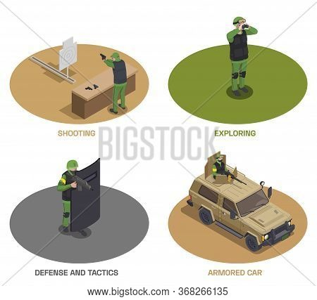 Army Weapons Soldier Isometric Set Of Four Round Compositions With Armed Special Forces Members And