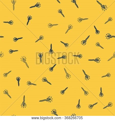 Blue Line Magic Staff Icon Isolated Seamless Pattern On Yellow Background. Magic Wand, Scepter, Stic