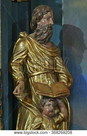 ZAGREB, CROATIA - NOVEMBER 08, 2012: Saint Matthew, statue at St. Mark's Church in Jakusevec, Zagreb, Croatia