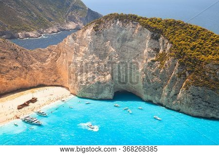Ship Wreck Beach At Navagio Bay, Greece. The Most Popular Natural Landmark Of Zakynthos Island