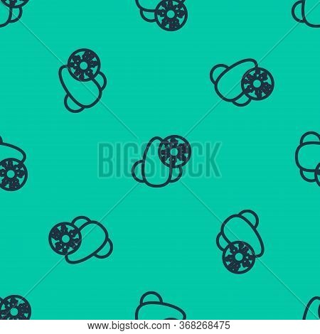 Blue Line Runny Nose And Virus Icon Isolated Seamless Pattern On Green Background. Rhinitis Symptoms