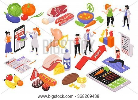 Isometric Dietician Nutritionist Set Of Isolated Food Icons Pictogram Signs And People With Gadgets