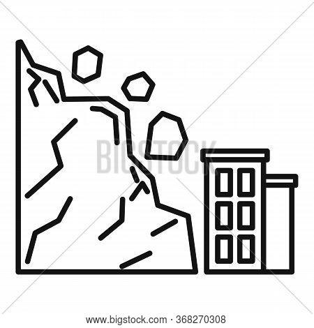 Landslide Element Icon. Outline Landslide Element Vector Icon For Web Design Isolated On White Backg