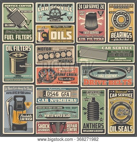 Car Spare Parts Service, Maintenance Retro Posters. Fuel, Oil And Air Filters, Bearings, Motor Gaske
