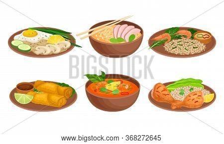 Various Dishes And Main Courses Plating With Greenery Garnishing Vector Set