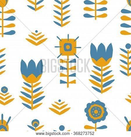 Hand Drawn Blue And Yellow Folk Flower Seamless Pattern. Paper Cut Floral Scandinavian Seamless Patt