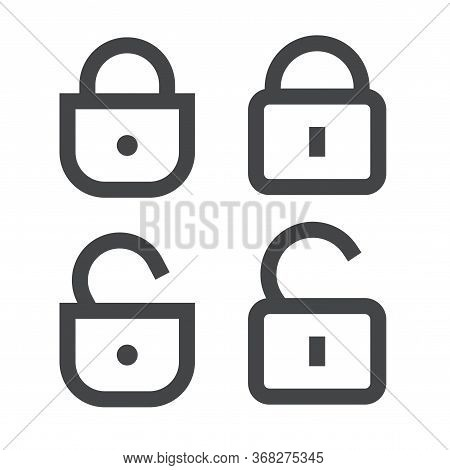 Padlock Or Lock Icon Vector Open And Closed Line Outline Art Isolated Symbol, Unlocked And Locked Pa