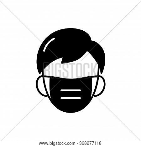 Man Face With Mask Icon Vector In Trendy Black Flat Style Isolated On White Background. Illustration