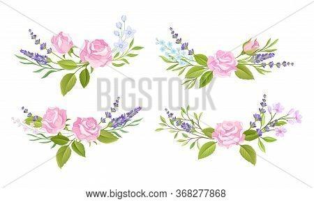 Floral Arrangement With Rose Flower And Lavender Twigs For Border Or Corner Decoration Vector Set