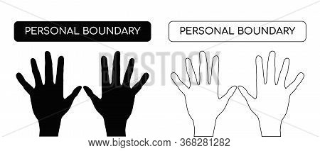 Personal Boundary. The Limit Line As A Protection Of Personal Space. Vector Illustration. Concept Of