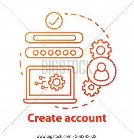 Create Account Red Concept Icon. Social Network Profile Registration Idea Thin Line Illustration. Ne