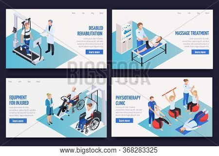 Physiotherapy Rehabilitation Clinic Concept 4 Isometric Compositions With Massage Treatment Disabled