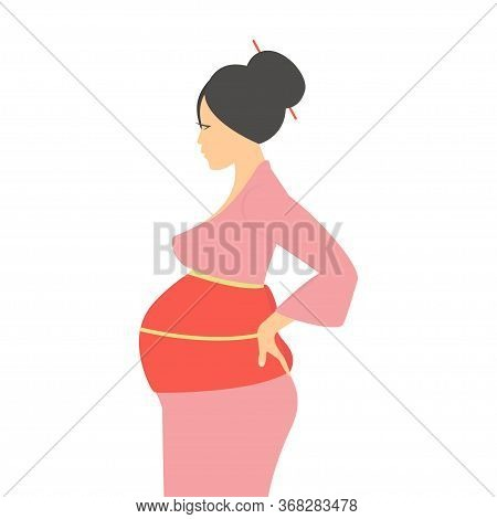 A Pregnant Woman Of Asian Appearance. Pregnant Girl, Future Mom. Vector Illustration.