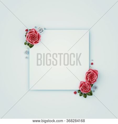 Flowers Composition. Paper Blank, Pink Flowers On Pastel Pink Background. Flat Lay, Top View, Copy S